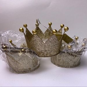 ENCHANTED EVE Gold Glitter Crown Party Decor Set 3
